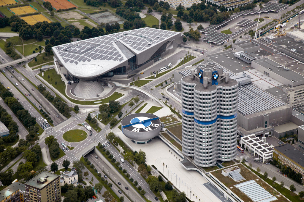 BMW Welt, BMW Museum, BMW Plant Munich and Corporate Headquarters - Aerial view (03/2011)