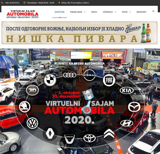 """XI CORONA FREE FEST NIŠ 2020"" – Prvi virtuelni Sajam automobila na Balkanu"